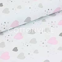 ✁ Відрізи тканини Дощик з сіро-рожевих сердечок