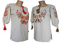 Жіноча вишита блуза з льону великих розмірів в етно стилі, фото 1