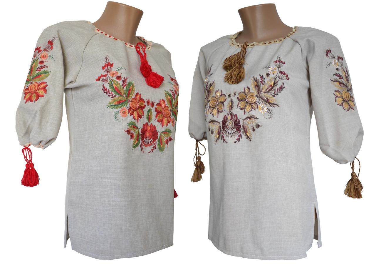 Жіноча вишита блуза з льону великих розмірів в етно стилі