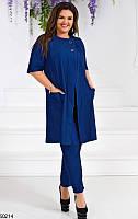 Костюм женский брючный демисезонный(туника+брюки) размер 50-54 универсальный, 3 цвета