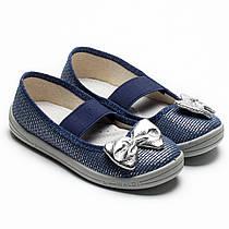Тапочки Waldi для девочки, ортопедические, Вероника синие с бантом, размер 24-30