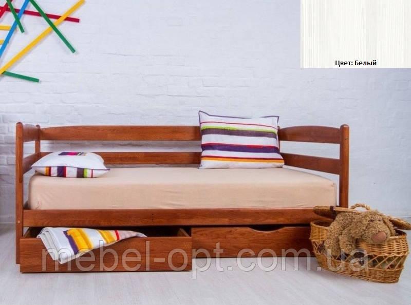 Детская односпальная кровать Ева с ящиками 80х190, цвет белый