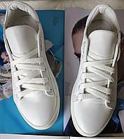 White! Белые стильные кожаные кеды обувь весна лето для мальчиков и девочек унисекс., фото 1