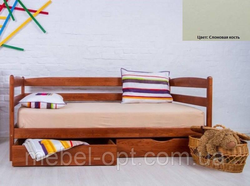 Детская односпальная кровать Ева с ящиками 90х200, цвет слоновая кость