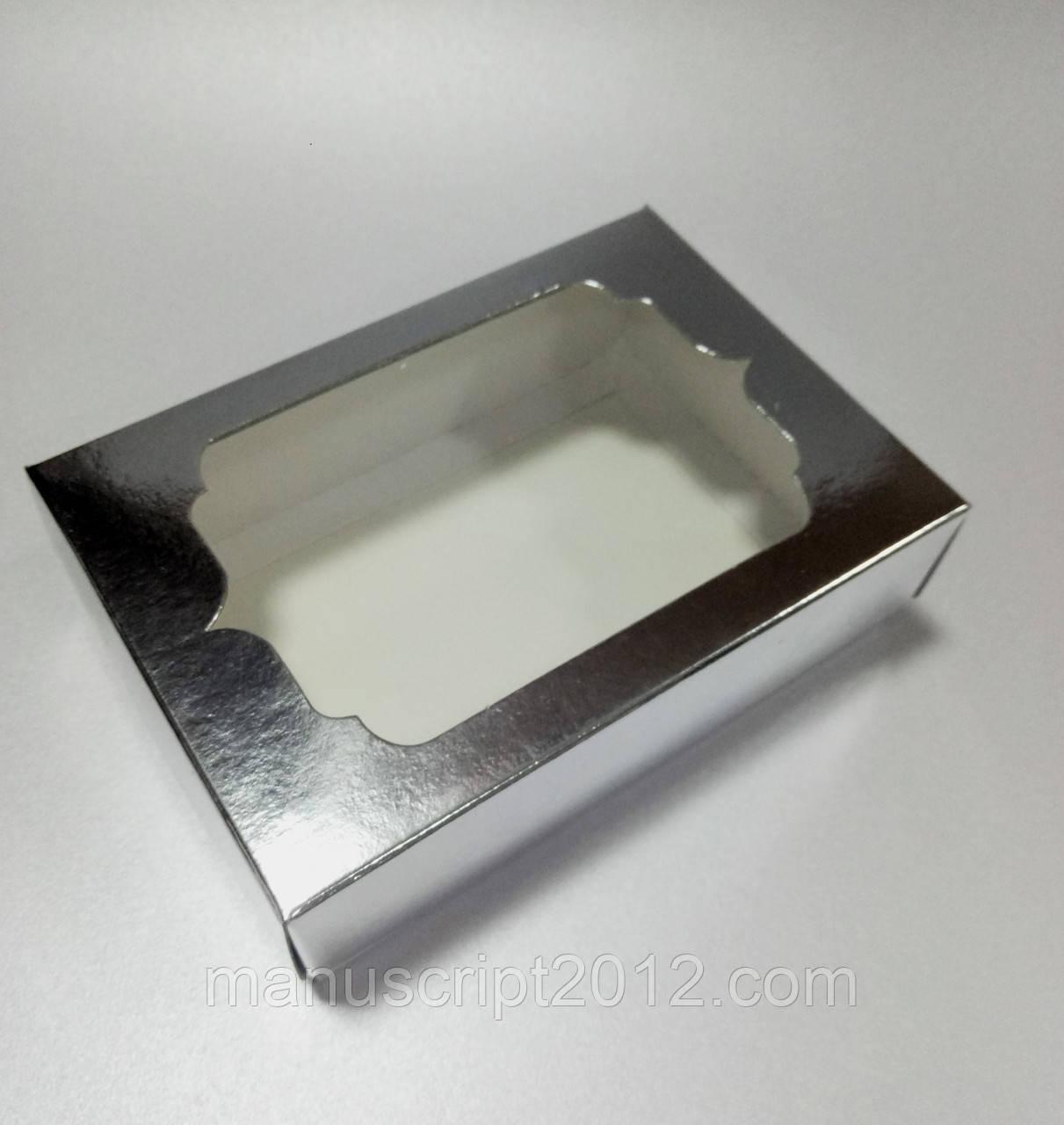 Коробка подарочная с фигурным окном - серебро