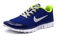 Кроссовки Найк Free Run 3.0 унисекс, синие/ салатовые, размер 36
