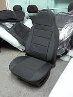 Чехлы на сиденья КИА Каренс (KIA Carens) (универсальные, кожзам+автоткань, пилот) черно-серый