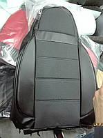 Чехлы на сиденья КИА Каренс (KIA Carens) (универсальные, кожзам+автоткань, пилот) черный