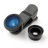 Универсальный объектив - прищепка 3 в 1 FishEye + Wide + Macro.  Black, фото 7