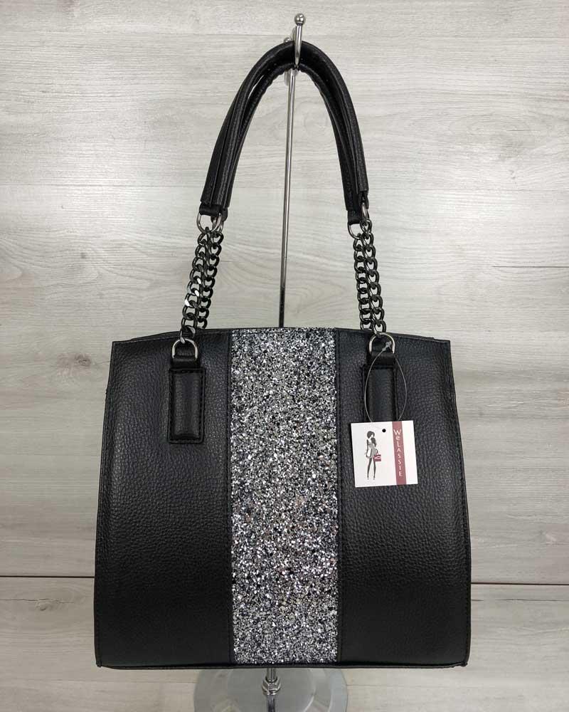 8b4e07e8a17e Каркасная женская сумка Адела черного цвета со вставкой блеск - Shop-Day в  Ужгороде