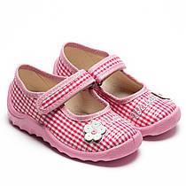 Тапочки Waldi для девочки, модель Катя, клеточка розовая с цветочком, ортопедические, размер 21-27