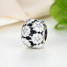 "Шарм Pandora Style (стиль Пандора) ""Белые цветы"""