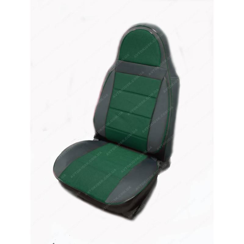 Чехлы на сиденья Опель Виваро (Opel Vivaro) 1+1  (универсальные, кожзам+автоткань, пилот) черно-зеленый