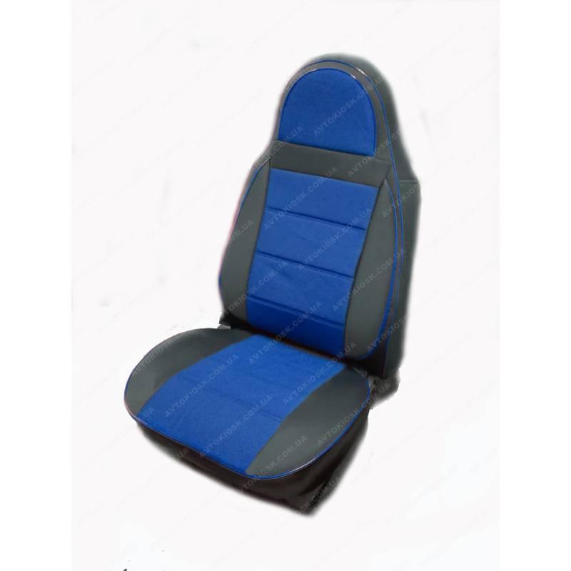 Чехлы на сиденья Опель Виваро (Opel Vivaro) 1+1  (универсальные, кожзам+автоткань, пилот) черно-синий
