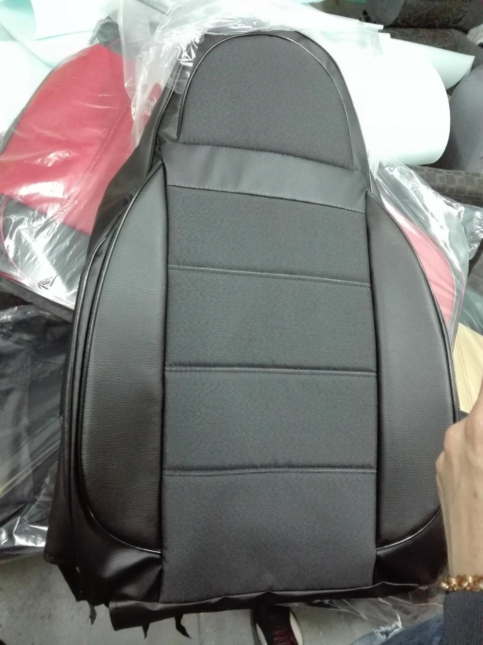 Чехлы на сиденья Опель Виваро (Opel Vivaro) 1+1  (универсальные, кожзам+автоткань, пилот) черный