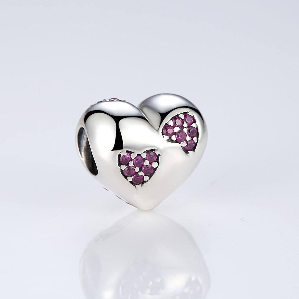 "Шарм Pandora Style (стиль Пандора) ""Пурпурные сердца"""