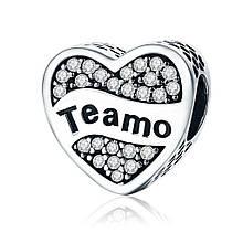 "Шарм Pandora Style (стиль Пандора)  ""Сердце TEAMO (I LOVE YOU)"