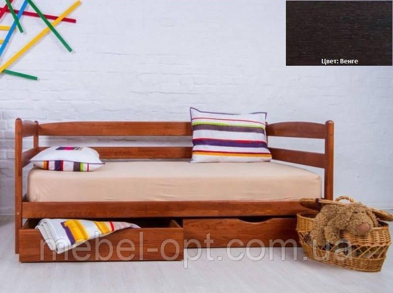Детская односпальная кровать Ева с ящиками 90х200, цвет венге
