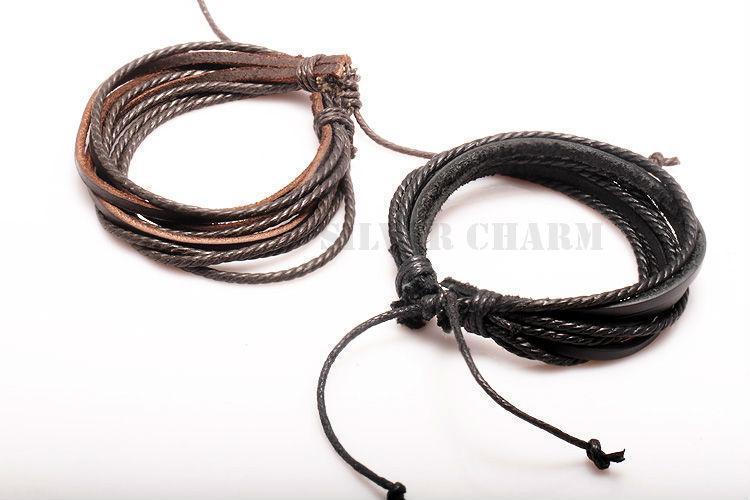 Кожаный браслет из косичек коричневый