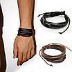 Кожаный браслет из косичек коричневый, фото 5
