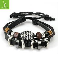 Кожаный браслет черный с бусинами