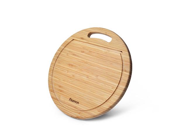 Доска разделочная бамбуковая 33x1.9см круглая Fissman