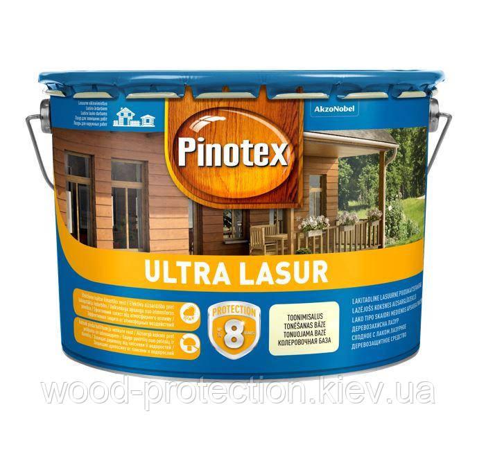 Водоотталкивающее лазурное деревозащитное средство Pinotex Ultra Lasur бесцветный 10л