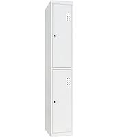 Шкаф одежный металлический ШО-400/1-2, размеры 1800х400х500 мм, 1 секция, 2 ячейки, локер
