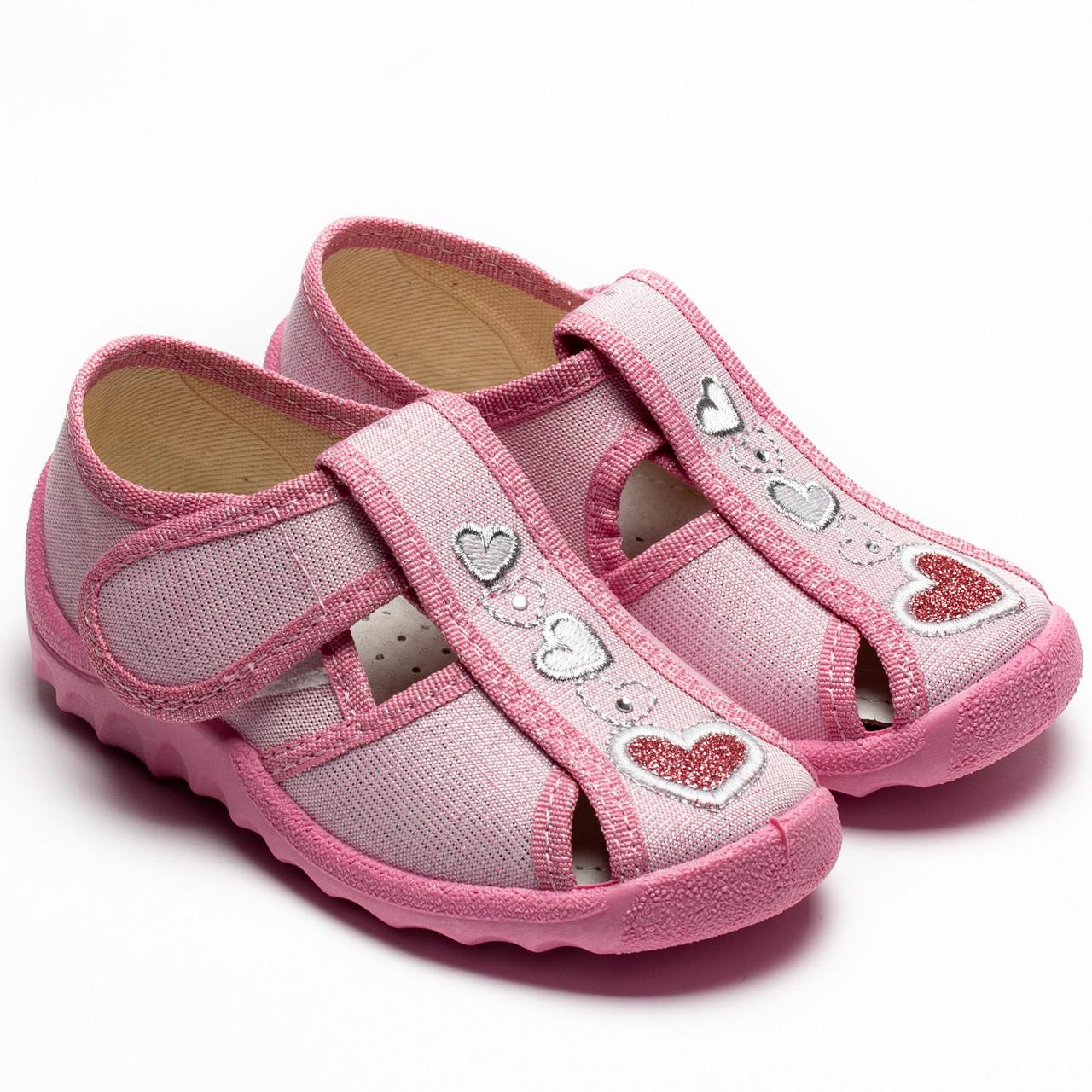 Тапочки Waldi для девочки, модель Маша, розовые с сердечком,  размер 21-27