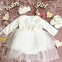 Набор для крещения или выписку для девочки 0-3 мес с платьем, пинетками, повязкой и подарочной коробкой