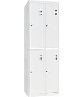 Шкаф одежный металлический ШО-400/2-4, двухсекционный гардеробный металлический шкаф в раздевалку