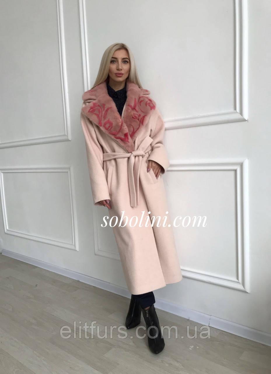 Пальто с мехом норки, размер 44/48