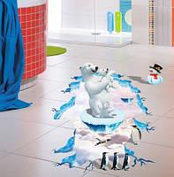 """Наклейка на пол """"Арктика"""" 3D - размер наклейки 90*60см"""