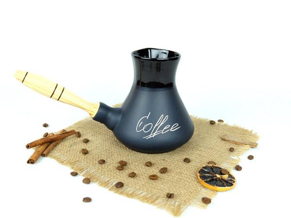 Турка Coffee керамическая с деревянной ручкой 500 мл