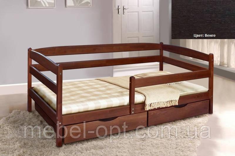 Детская односпальная кровать Ева с ящиками + планка 90х200, цвет венге