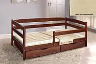Детская односпальная кровать Ева с ящиками + планка 90х200, цвет бук натуральный