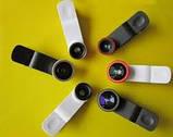 Объективы 3 в 1 Fish Eye + Wide + Macro для мобильных телефонов. Gold, фото 5