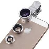 Объективы 3 в 1 Fish Eye + Wide + Macro для мобильных телефонов. Gold, фото 6