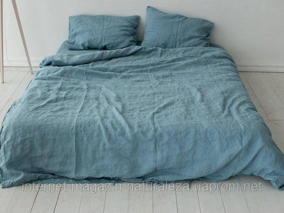 Льняное постельное белье Бирюза Полуторный, фото 2