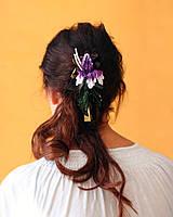 Фиолетовый ирис из кожи, зажим для волос