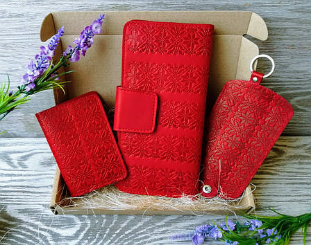 Подарочный набор из натуральной кожи  красная вышиванка, фото 2