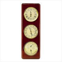 Сувенирные настенные часы с барометром, термометром и гигрометром из дерева JIBО, 32см