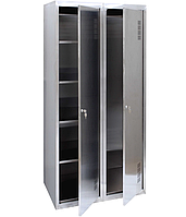 Шкаф хозяйственный из нержавеющей стали ШМХН400/2, шкаф для хозяйственного инвентаря, моющих средств