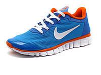 Кроссовки Найк Free Run 3.0 унисекс, голубые/ оранжевые, фото 1