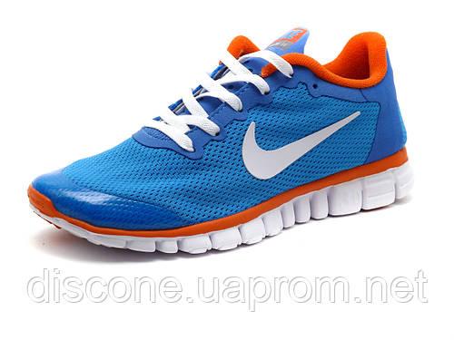 Кроссовки Найк Free Run 3.0 унисекс, голубые/ оранжевые
