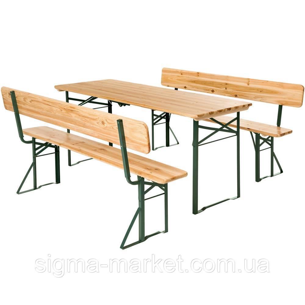 Садовая мебель стол + две скамьи со спинкой 176 см раскладные Германия