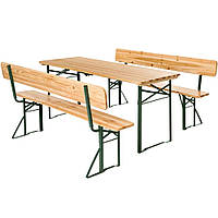 Садовая мебель стол + две скамьи со спинкой 176 см раскладные Германия, фото 1