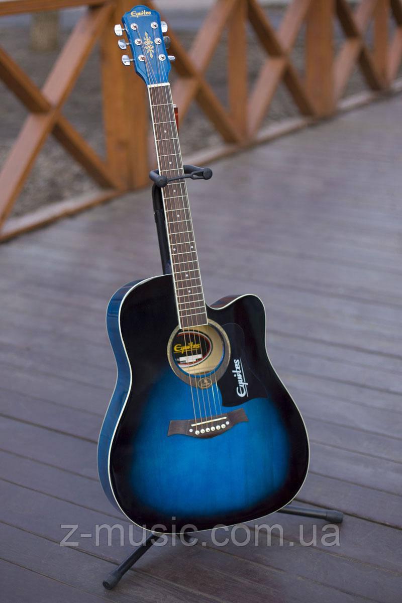 Гитара акустическая Equites Eq-09 BLC (копилка, медиатор, ключ), глянцевая