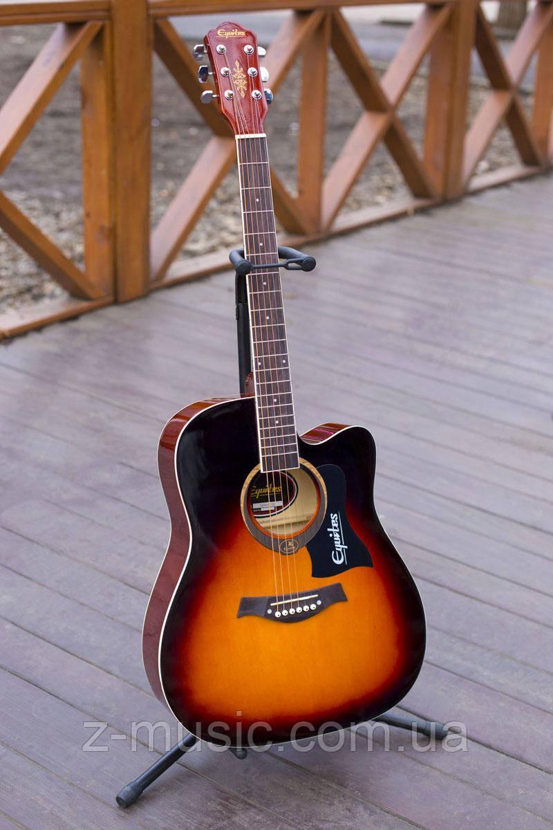 Гитара акустическая Equites Eq-09 SBC (копилка, медиатор, ключ), глянцевая