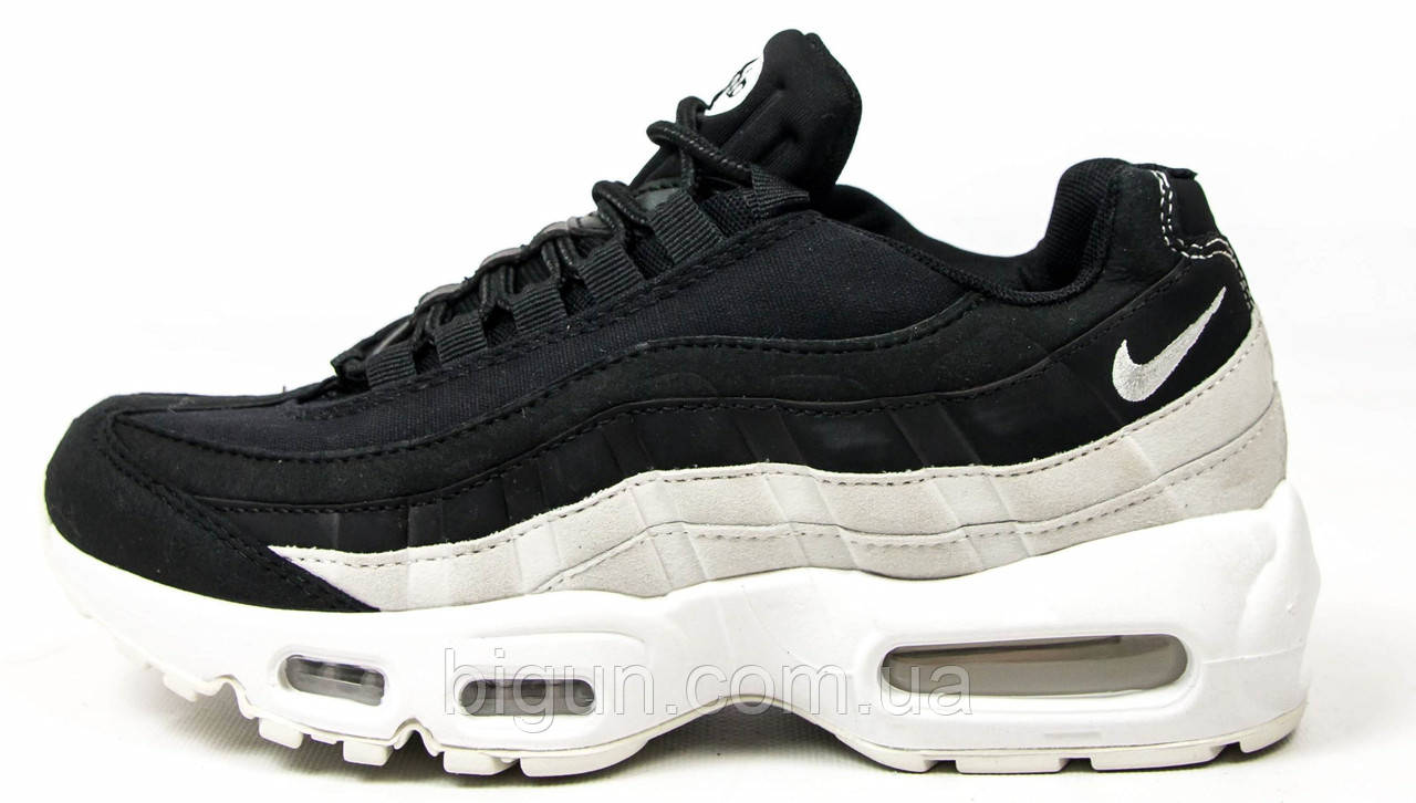 c9e8f75b Женские кроссовки Nike Air Max 95 Black White (найк аир макс 95, черные/